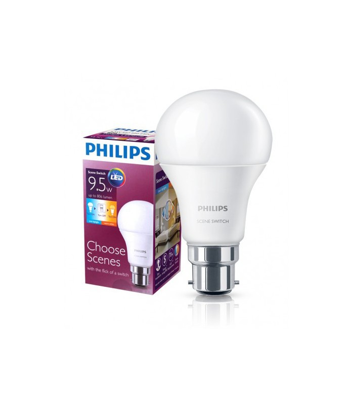 Philips 9.5W B22 LED Scene Switch A60 2in1 3000K/6500K 806lm Bulb