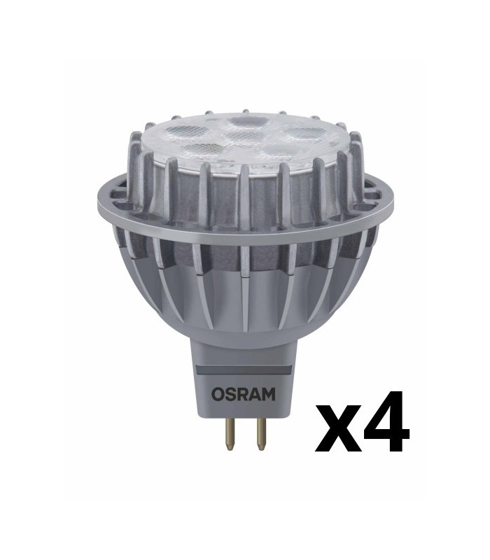 Osram 7W GU5.3 (12V) LED Superstar MR16 50 60° Daylight 500lm Lamps - 4 Pack