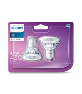 Philips 4.6W GU10 LED Spot PAR16 50 60° Cool White 430lm Lamp - 2 Pack