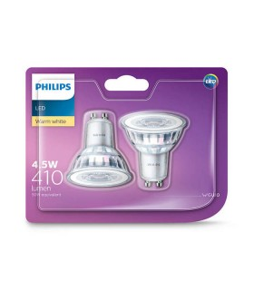Philips 4.6W GU10 LED Spot PAR16 50 60° Warm White 410lm Lamp - 2 Pack