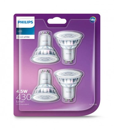 Philips 4.6W GU10 LED Spot PAR16 50 60° Cool White 430lm Lamp - 4 Pack