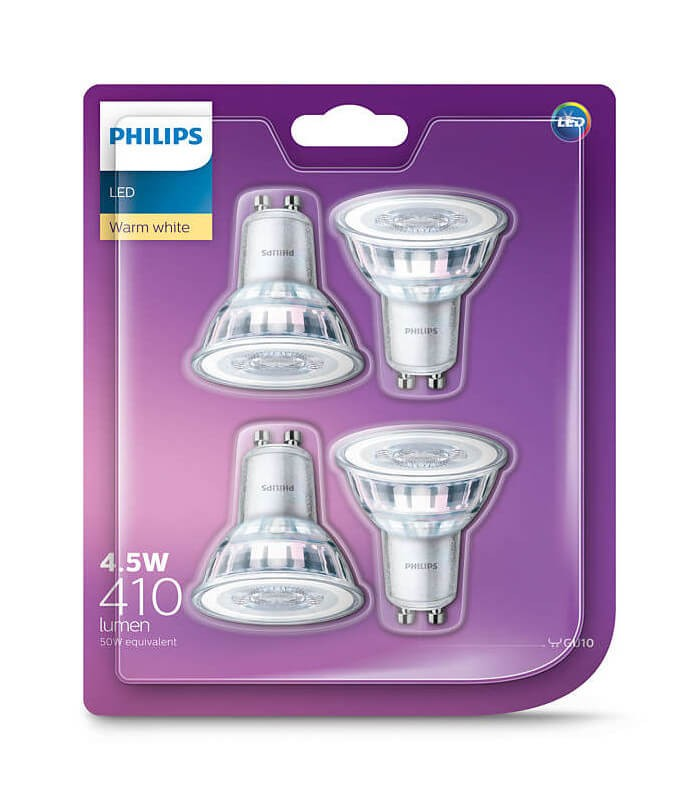 Philips 4.6W GU10 LED Spot PAR16 50 60° Warm White 410lm Lamp - 4 Pack