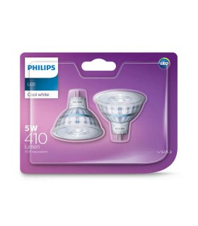 Philips 5W GU5.3 (12V) LED Spot MR16 50 60° Cool White 410lm Lamp - 2 Pack