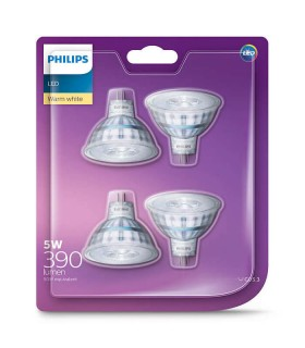 More about Philips 5W GU5.3 (12V) LED Spot MR16 50 60° Warm White 390lm Lamp - 4 Pack