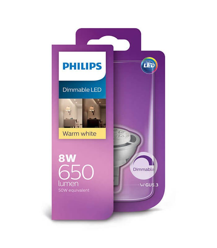 Philips 8W GU5.3 Dimmable LED Spot MR16 50 60° Warm White 650lm Lamp