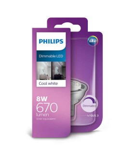 Philips 8W GU5.3 Dimmable LED Spot MR16 50 60° Cool White 670lm Lamp
