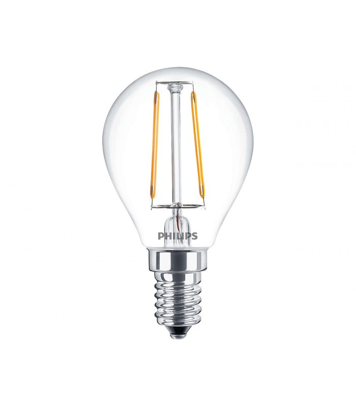 Philips 2.3W E14 LED Filament Deco Fancy Round Warm White 250lm Bulb
