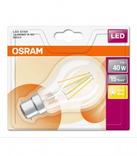 More about Osram 4W B22 LED Filament Classic A60 Warm White 470lm Bulb