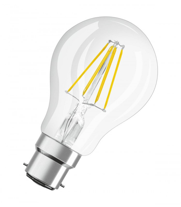 Osram 4W B22 LED Filament Classic A60 Warm White 470lm Bulb
