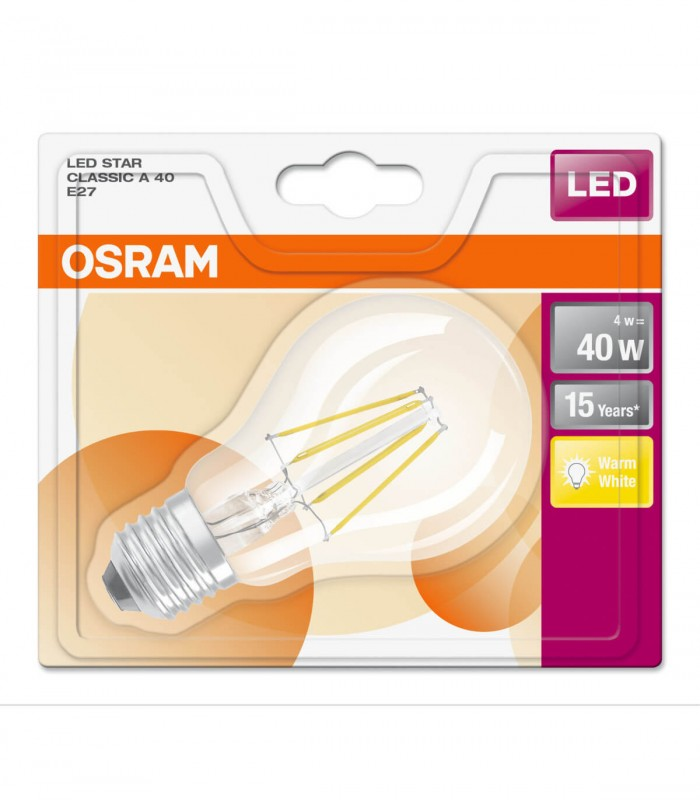 Osram 4W E27 LED Filament Classic A60 Warm White 470lm Bulb