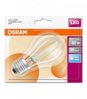 More about Osram 6.5W E27 LED Filament Classic A60 Cool White 806lm Bulb