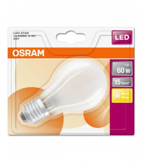 Osram 7W E27 LED Filament Classic A60 Frosted Warm White 806lm Bulb