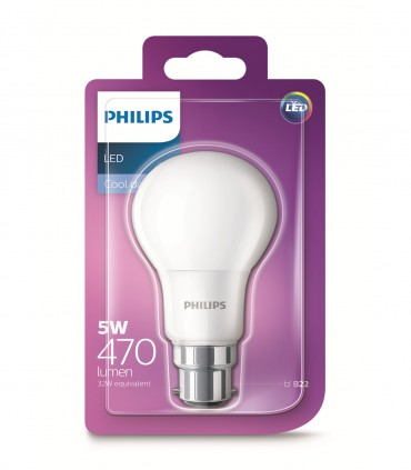 Philips 5W B22 LED Classic A60 Cool Daylight 470lm Bulb