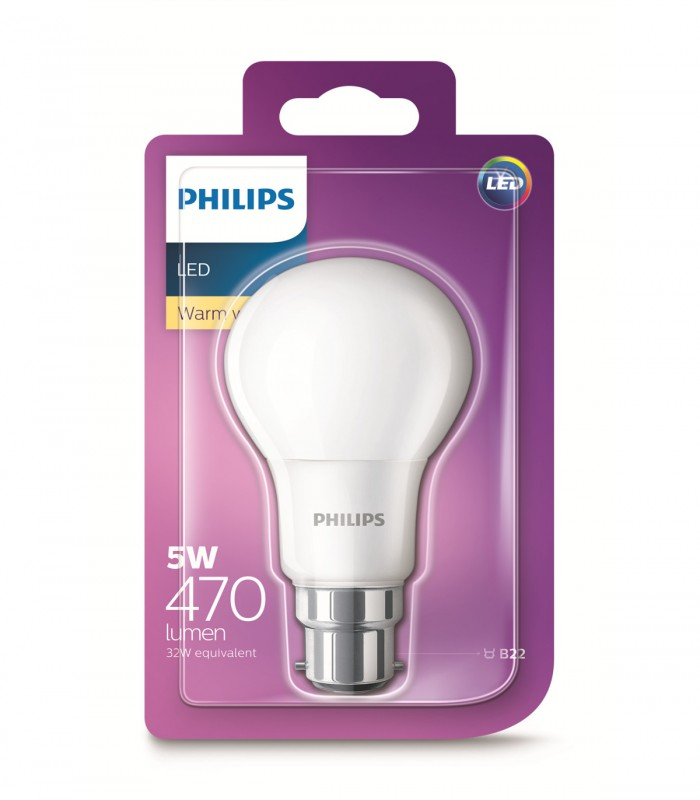 Philips 5W B22 LED Classic A60 Warm White 470lm Bulb