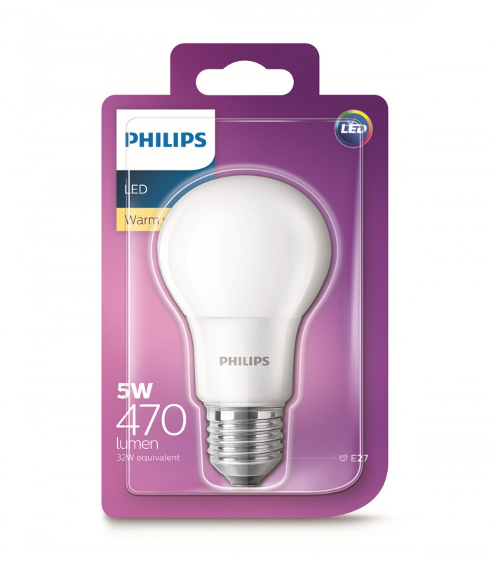 Philips 5W E27 LED Classic A60 Warm White 470lm Bulb