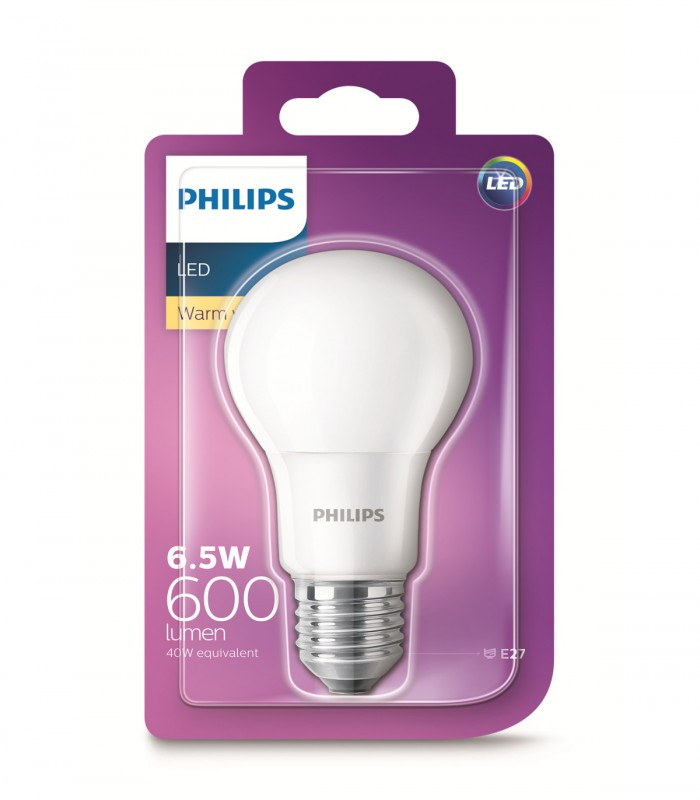 Philips 6.5W E27 LED Classic A60 Warm White 600lm Bulb