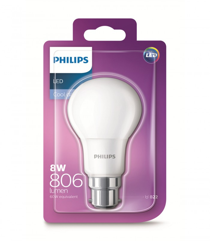 Philips 8W B22 LED Classic A60 Cool Daylight 806lm Bulb
