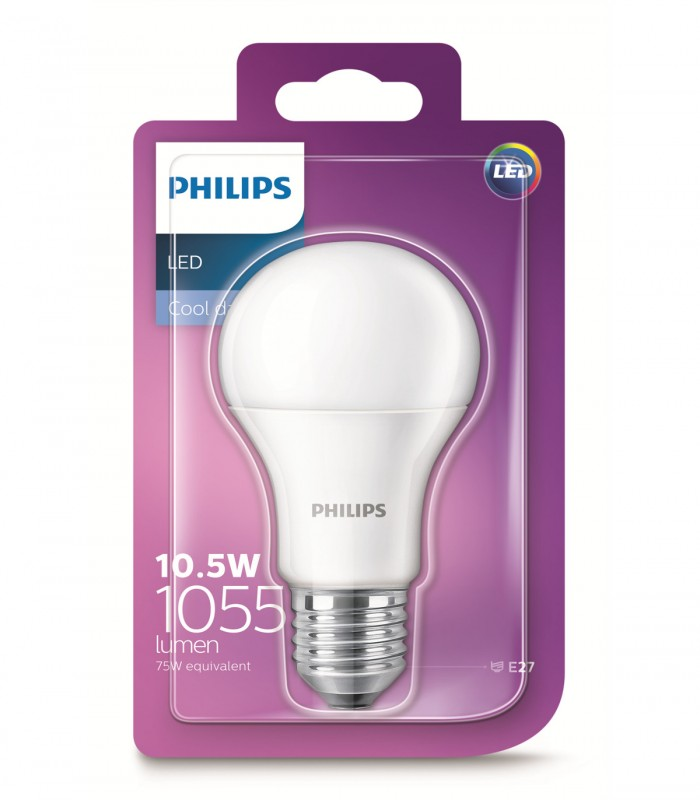 Philips 10.5W E27 LED Classic A60 Cool Daylight 1055lm Bulb