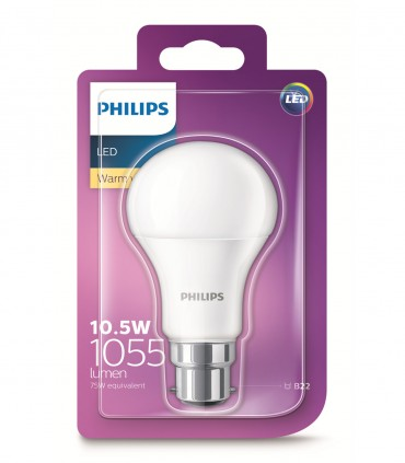 Philips 10.5W B22 LED Classic A60 Warm White 1055lm Bulb