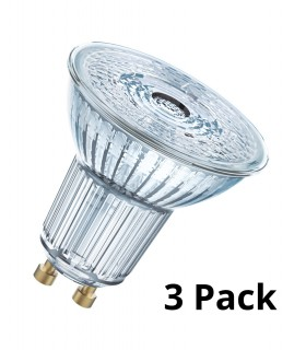 Osram 7W GU10 LED Star PAR16 80 36° Warm White 3000K 575lm Lamps - 3 Pack