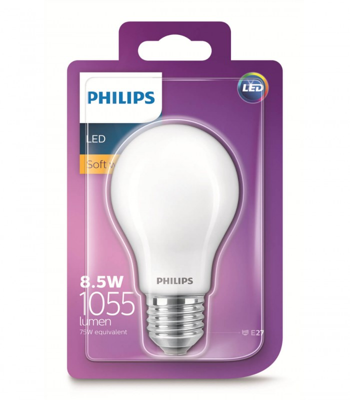 Philips 8.5W E27 LED Classic A60 Soft White 1055lm Bulb