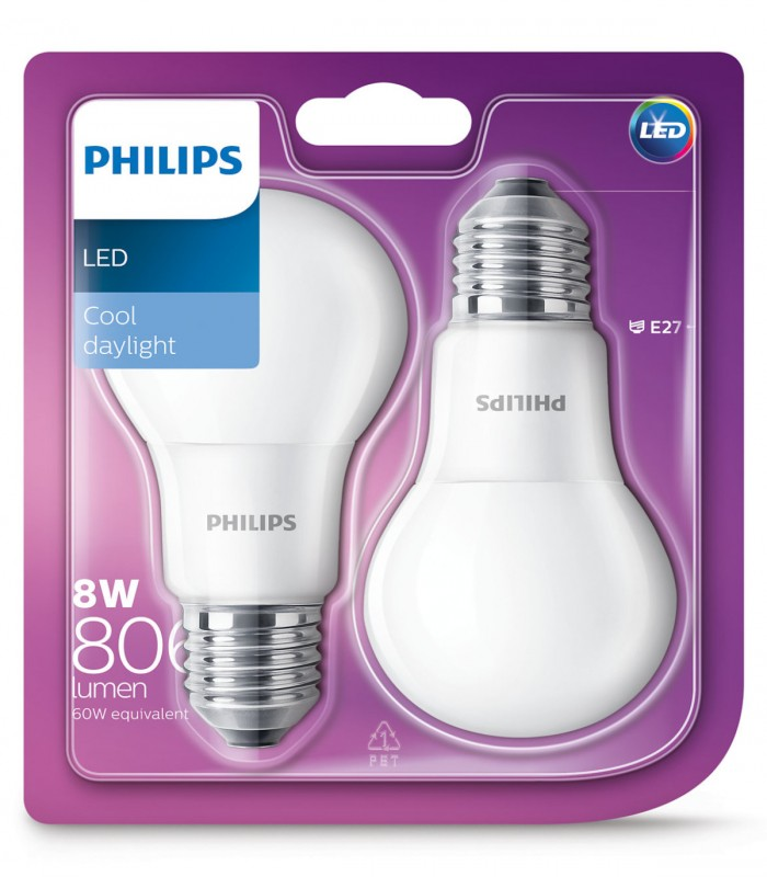 Philips 8W E27 LED Classic A60 Cool Daylight 806lm Bulb - Twin Pack