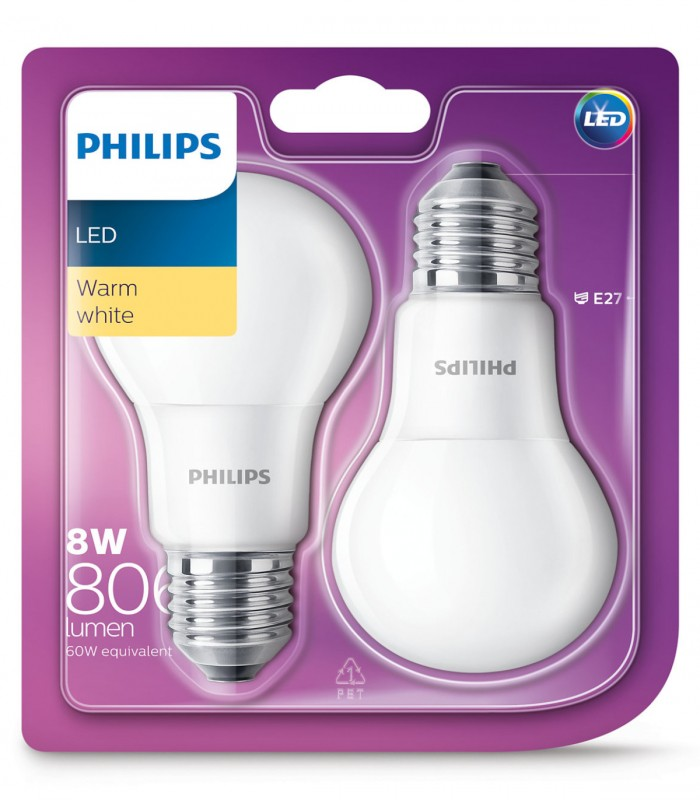 Philips 8W E27 LED Classic A60 Warm White 806lm Bulb - Twin Pack
