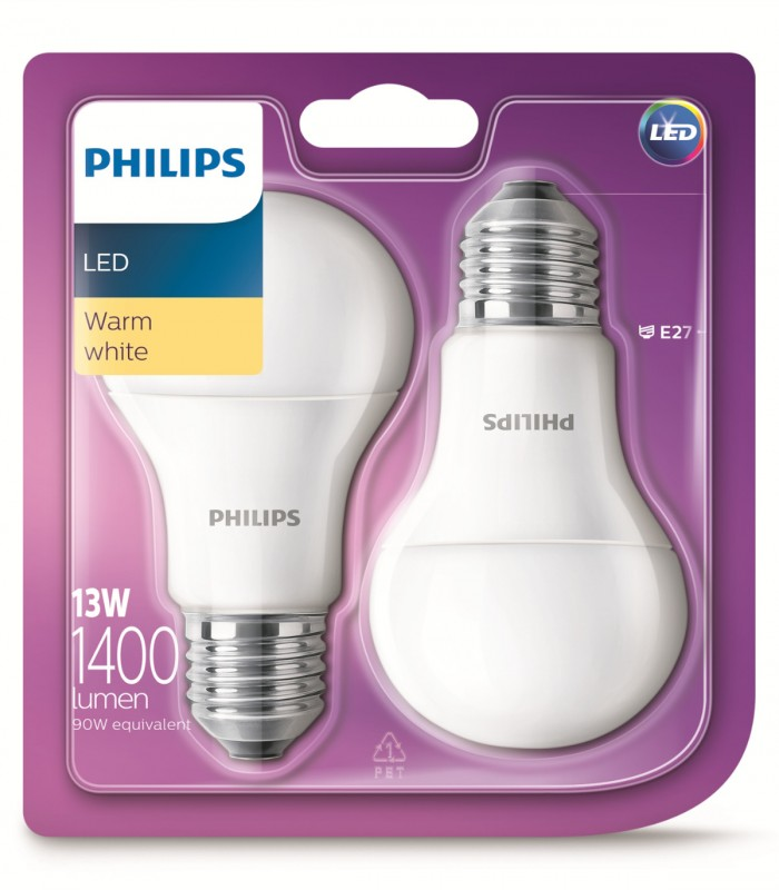 Philips 13W E27 LED Classic A60 Warm White 1400lm Bulb - Twin Pack
