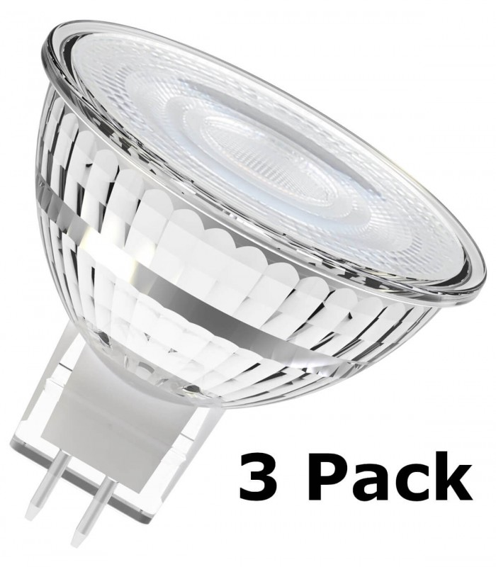 Osram 6W GU5.3 (12V) LED Value MR16 60° Warm White 500lm Lamps - 3 Pack