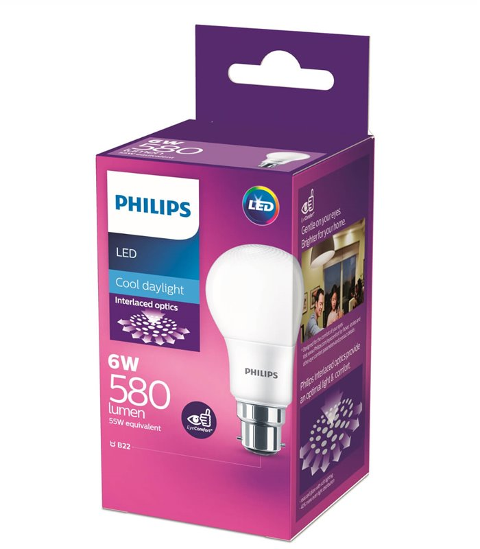 Philips 6W B22 LED Classic A60 Cool Daylight 580lm Bulb