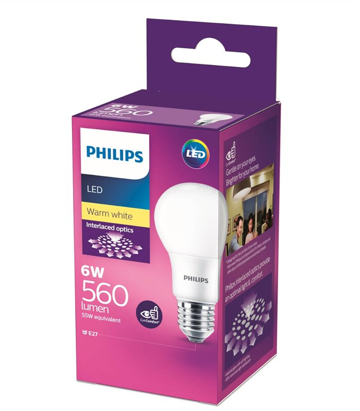 Philips 6W E27 LED Classic A60 Warm White 560lm Bulb