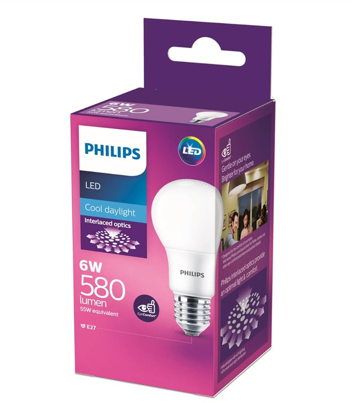 Philips 6W E27 LED Classic A60 Cool Daylight 580lm Bulb