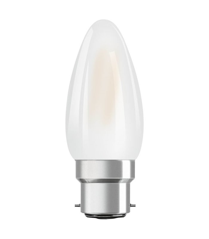 Osram 4W B22 LED Filament Classic B Candle Frosted Warm White 470lm Lamp